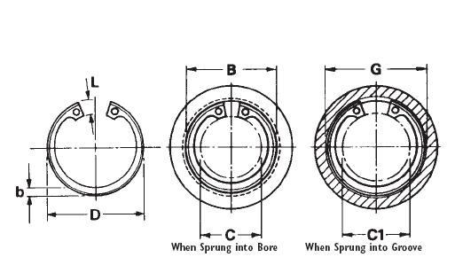 Tapered Section Retaining Rings With Removal Lugs